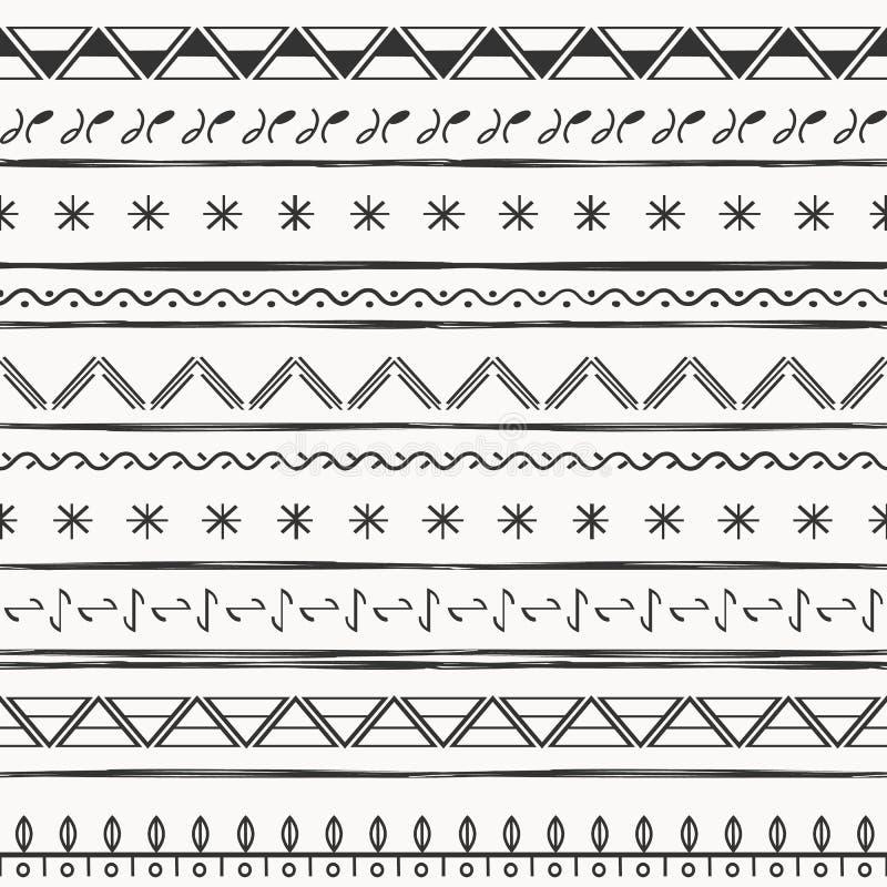 传染媒介例证种族无缝的样式 黑白印刷品 库存例证