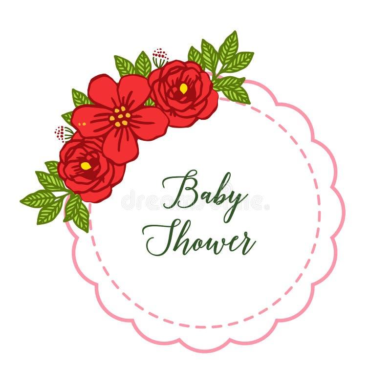 传染媒介例证红色玫瑰色花构筑装饰的绽放卡片婴儿送礼会 库存例证