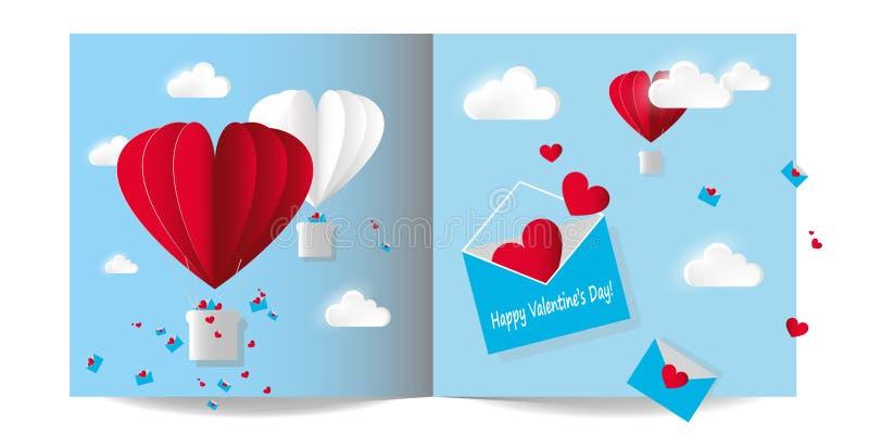 传染媒介例证纸牌为情人节 打开与飞行红色心脏的信封 在蓝天背景的气球与 向量例证