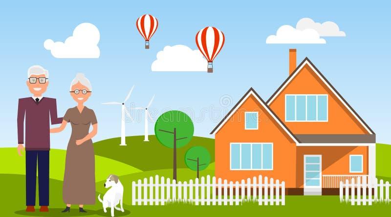 传染媒介例证老人和他的妻子身分在她的房子附近 库存例证