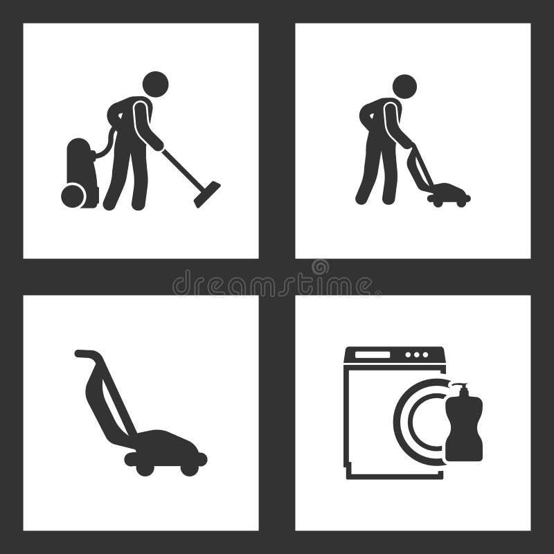 传染媒介例证被设置的清洗的象 擦净剂、吸尘器和洗碗机象的元素 库存例证
