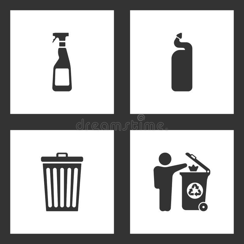 传染媒介例证被设置的清洗的象 清洗的浪花瓶、洗涤剂瓶、垃圾桶和人投掷的垃圾的元素  库存例证