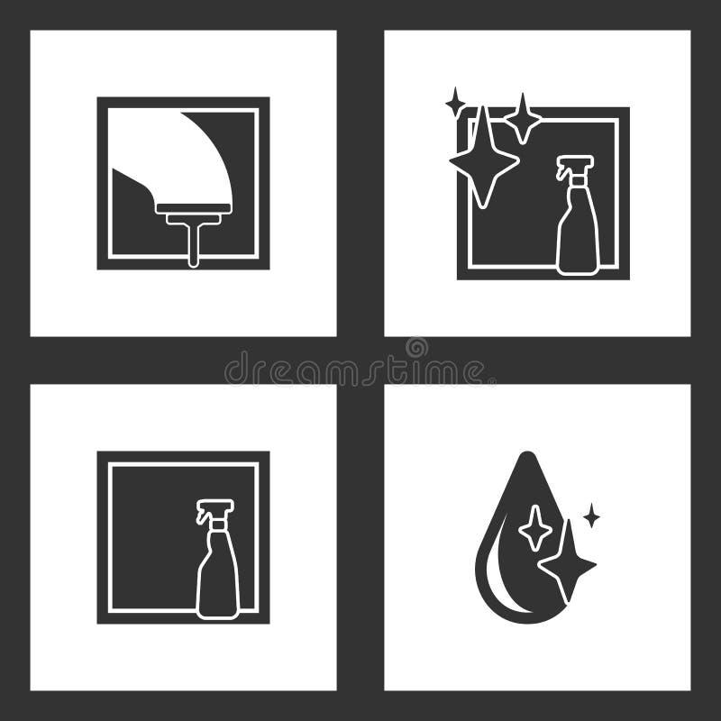 传染媒介例证被设置的清洗的象 玻璃刮板,浪花瓶,被隔绝的窗口的元素和下落象 库存例证