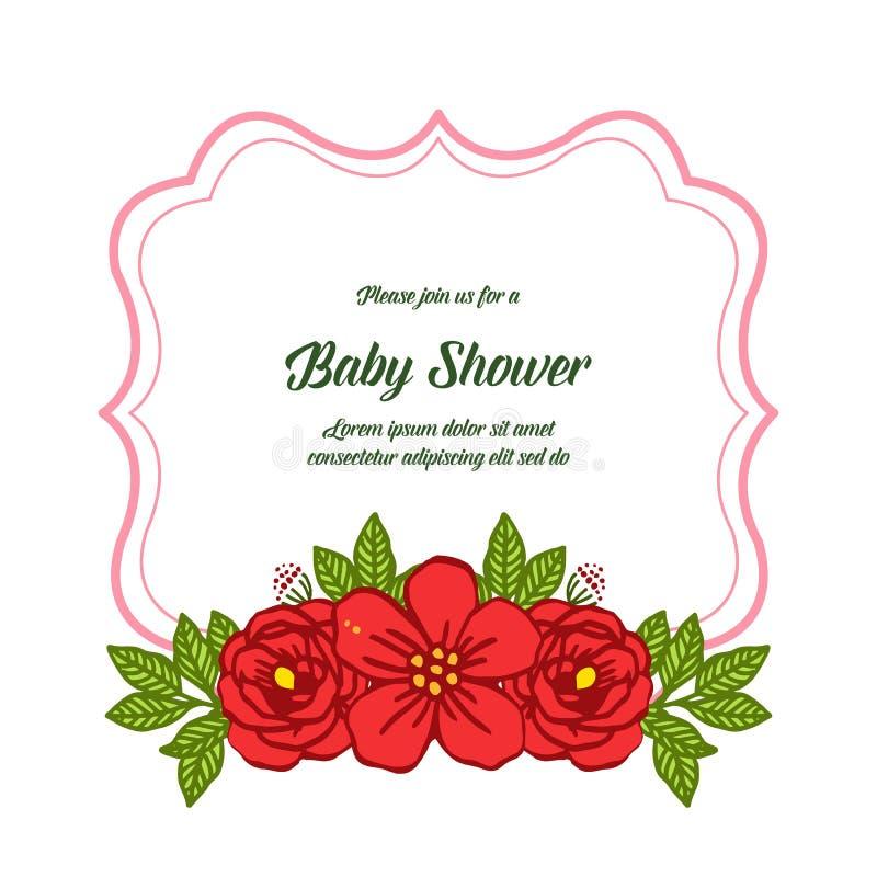 传染媒介例证装饰卡片与非常美好的红色玫瑰色花圈框架的婴儿送礼会 向量例证