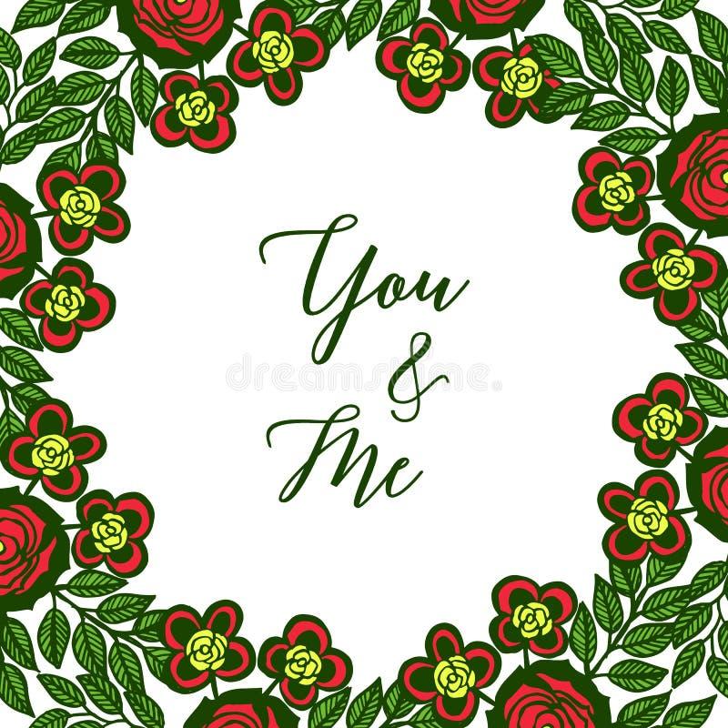 传染媒介例证装饰卡片您和我与绿色叶茂盛五颜六色的花框架 库存例证