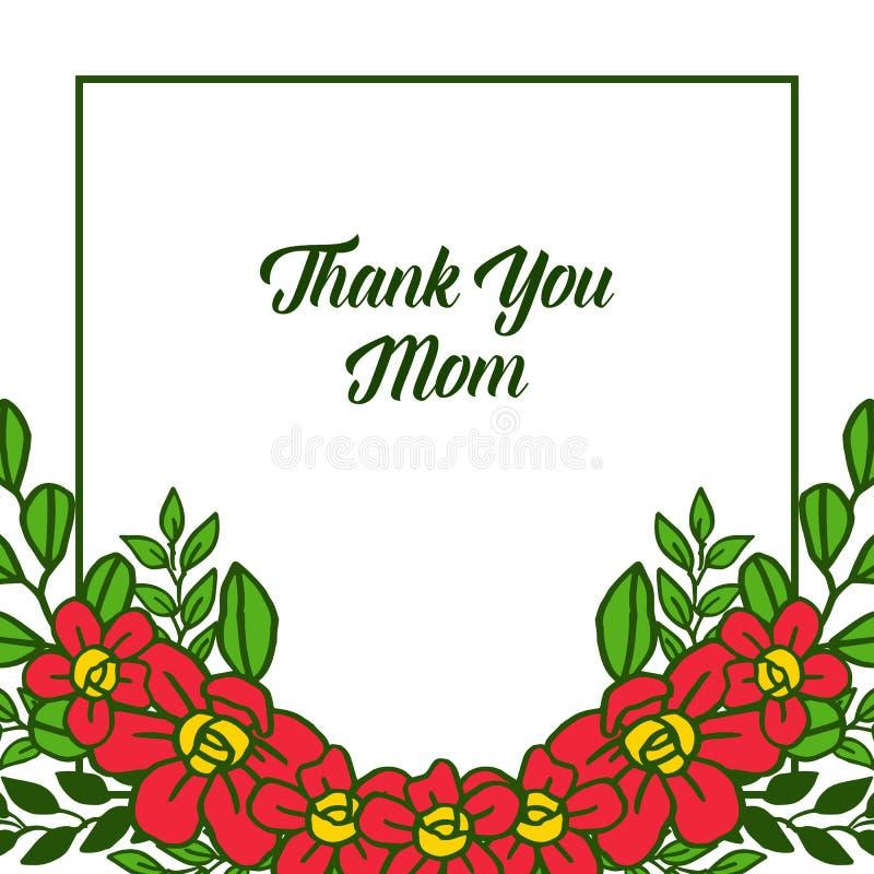传染媒介例证装饰卡片感谢您有美好的橙色花框架的妈妈 皇族释放例证