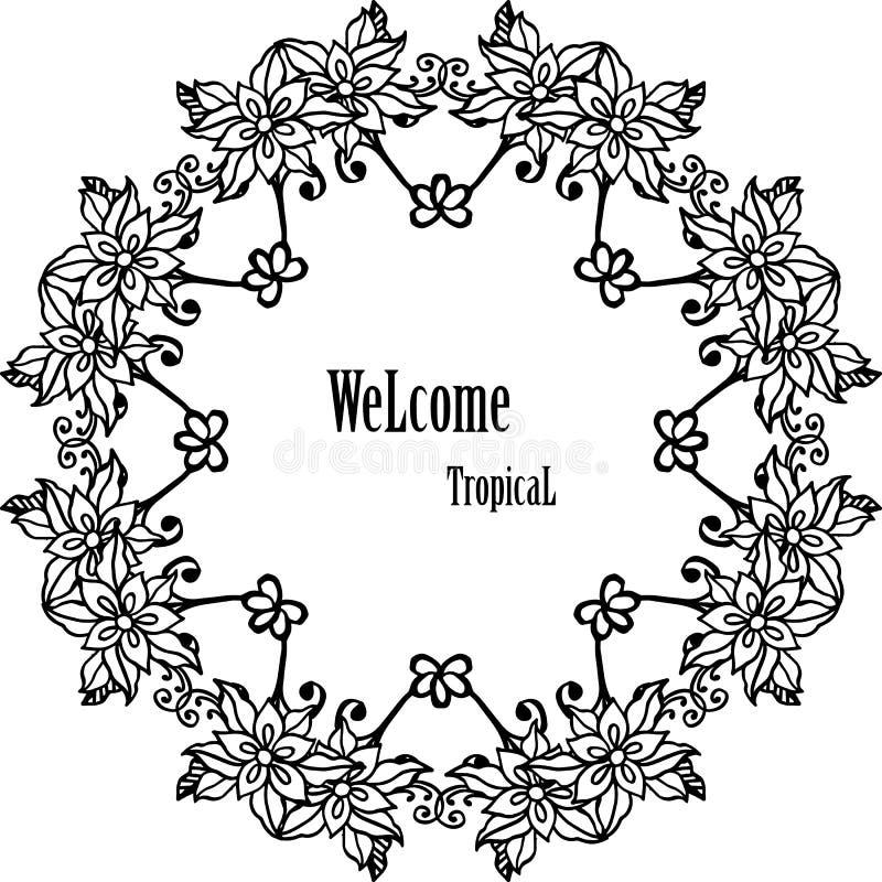 传染媒介例证装饰热带你好的欢迎卡片的花框架  皇族释放例证