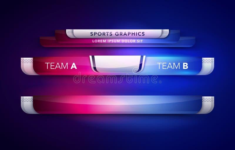 传染媒介例证记分牌队A对队B广播图表和体育、足球和橄榄球的更低的三模板 皇族释放例证