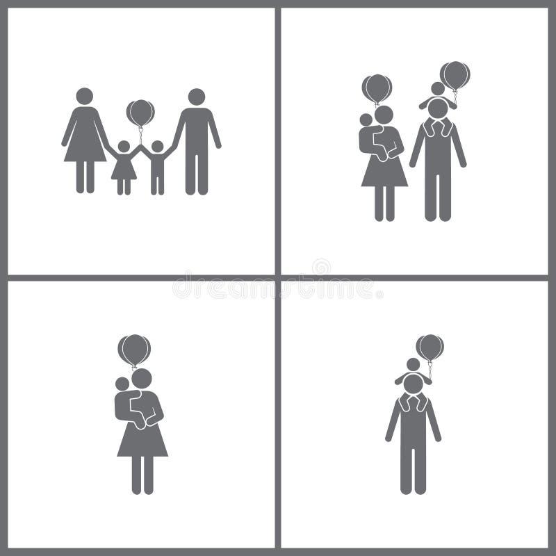 传染媒介例证设置了办公室关系象 女孩、男孩,气球和家庭象的元素 向量例证