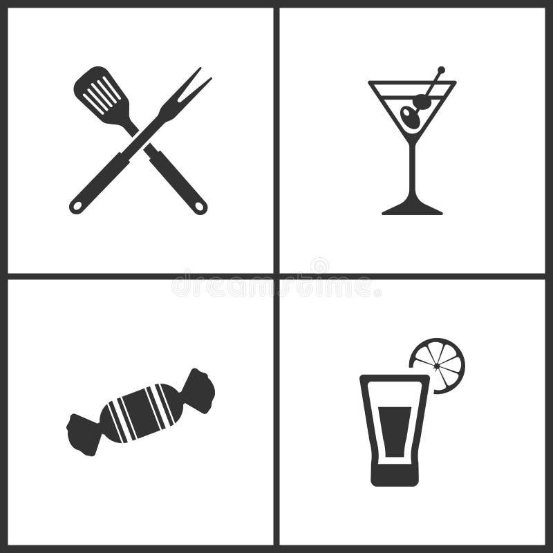 传染媒介例证设置了医疗象 厨房工具、马蒂尼鸡尾酒、糖果和龙舌兰酒的元素射击了象 库存例证