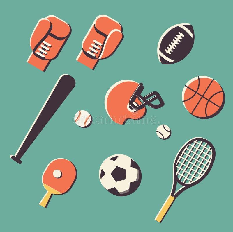 传染媒介例证象套体育:网球,字距调整,拳击,橄榄球,橄榄球,篮球,棒球,乒乓球 库存例证