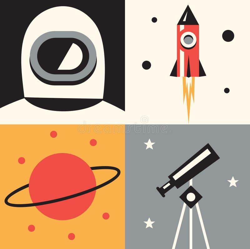 传染媒介例证象套空间:宇航员,火箭,行星,望远镜 库存例证