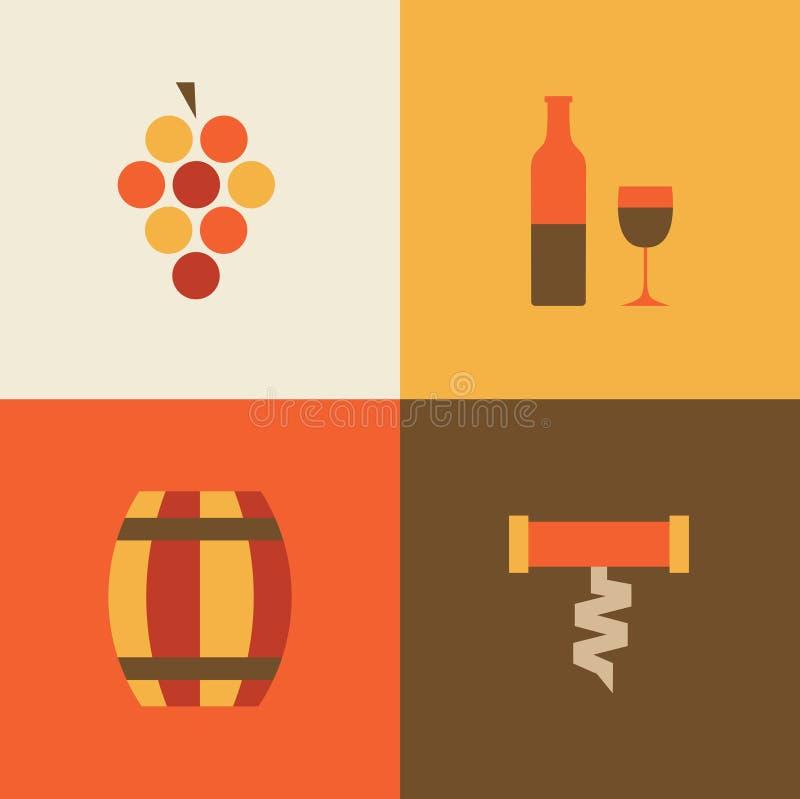 传染媒介例证象套酒:葡萄,瓶,桶,瓶盖启子 皇族释放例证