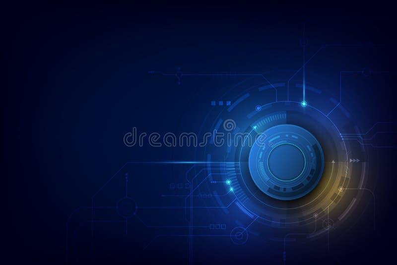 传染媒介例证链轮和电路板、高科技数字技术和工程学,数字电信技术概念 库存例证