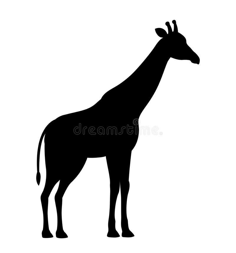 传染媒介例证长颈鹿黑色在白色背景隔绝的剪影象 皇族释放例证