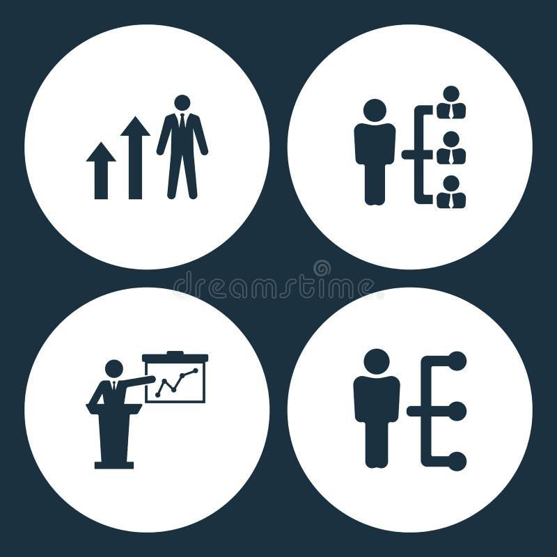 传染媒介例证集合企业象 元素人图箭头、公司结构、介绍和人构造象 库存例证