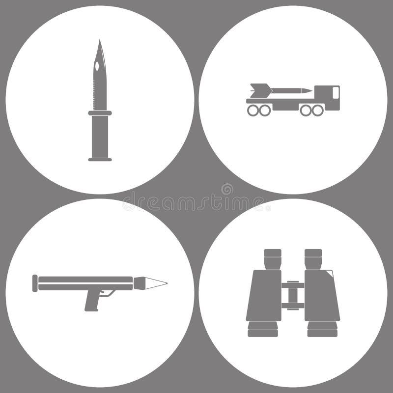 传染媒介例证集合办公室军队象 军事刀子、导弹系统、枪榴弹发射器和双筒望远镜象的元素 向量例证