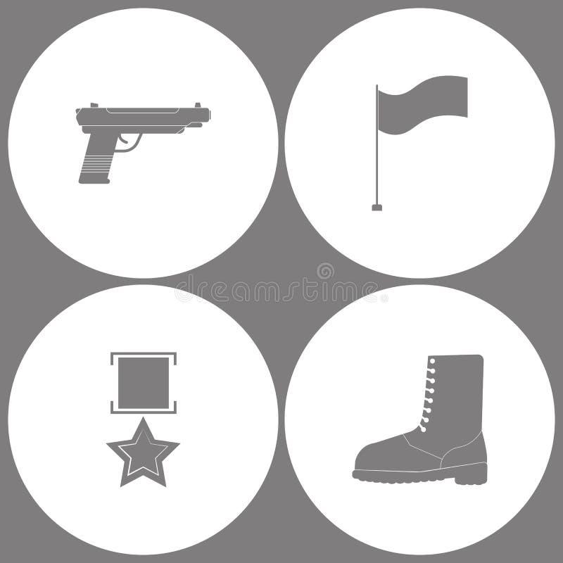 传染媒介例证集合办公室军队象 手枪的元素开枪,下垂,军事奖牌和军事鞋子起动象 皇族释放例证