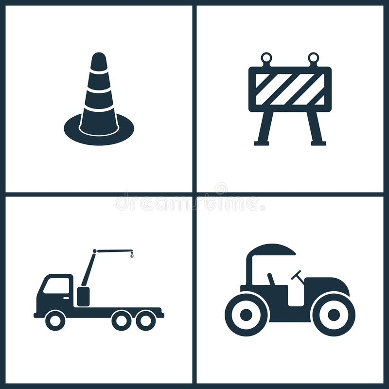 传染媒介例证集合戏院象 锥体,路障碍、卡车起重机和压路机的元素象 向量例证