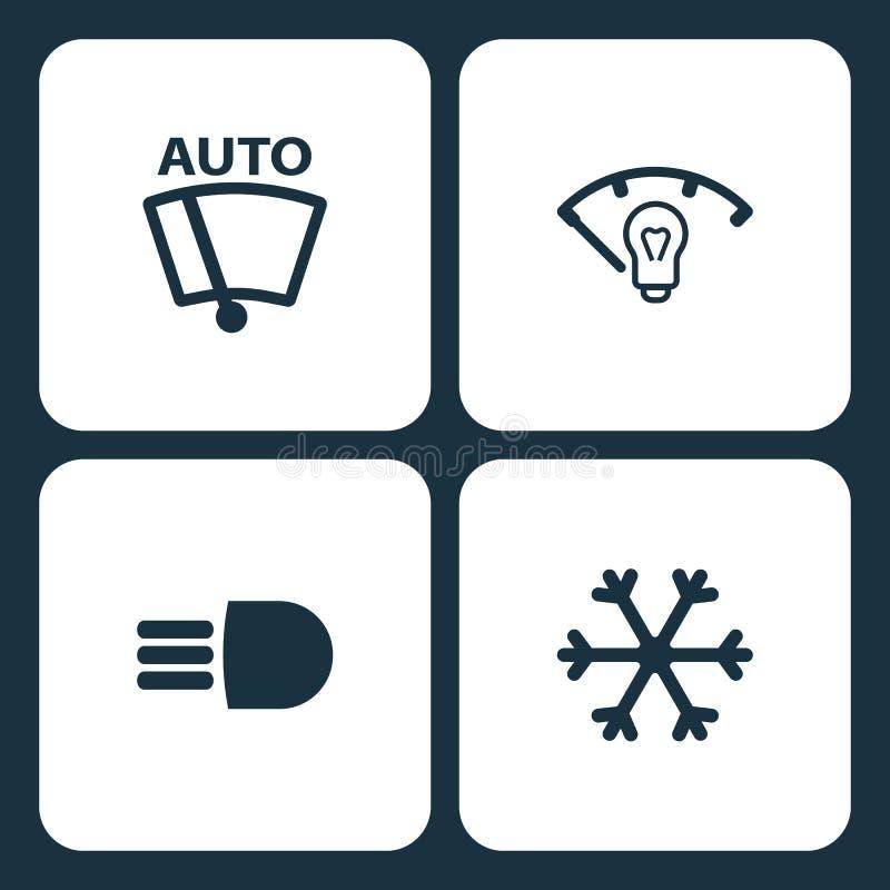 传染媒介例证集合汽车仪表板象 元素传染媒介风档刮水器、仪表盘照明、高光束和雪 皇族释放例证