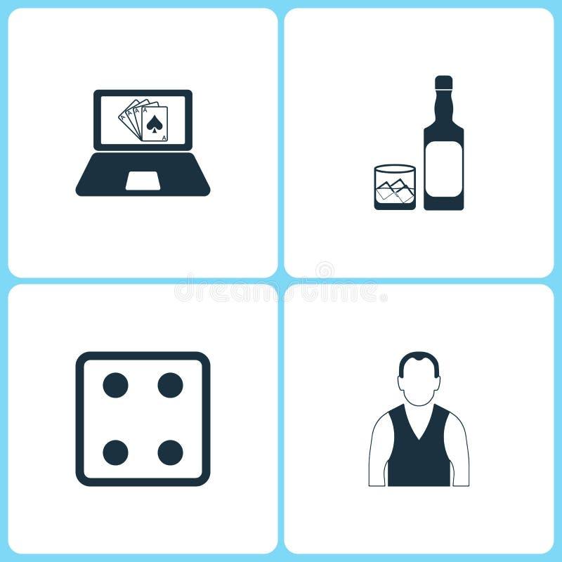 传染媒介例证集合赌博娱乐场象 扑克牌游戏、威士忌酒瓶、模子比赛和副主持人象的元素 库存例证