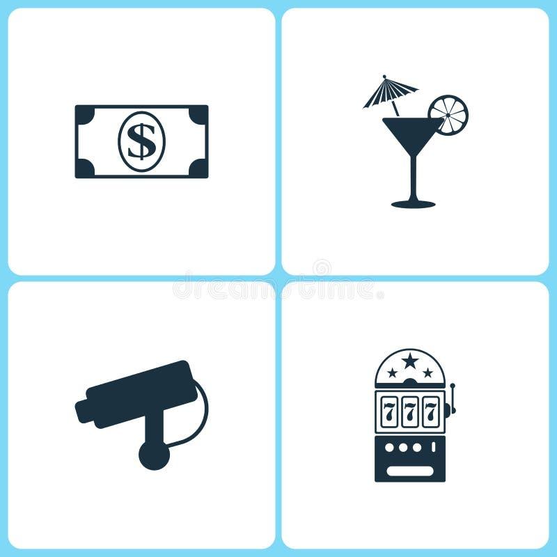 传染媒介例证集合赌博娱乐场象 美元、鸡尾酒、照相机和赌博娱乐场象的元素 向量例证