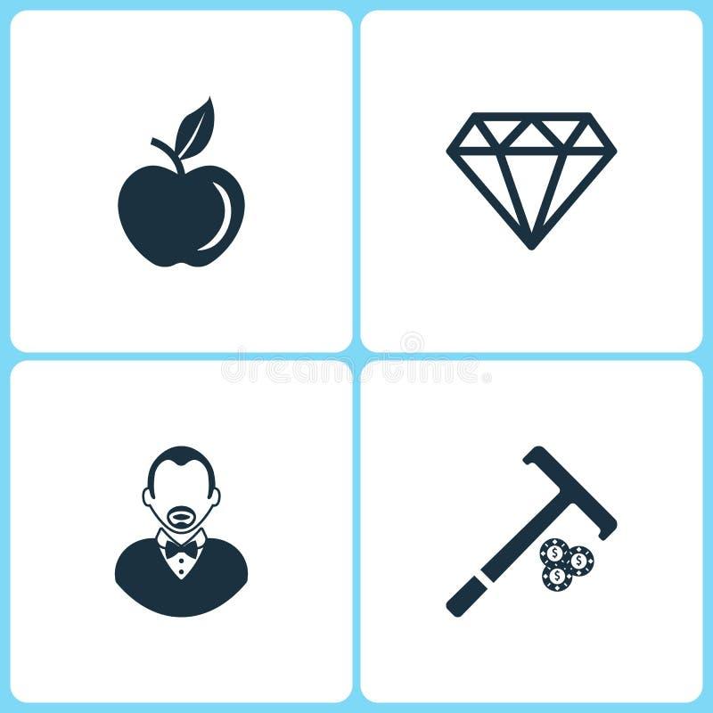 传染媒介例证集合赌博娱乐场象 苹果计算机、金刚石、副主持人和棍子的元素芯片象的 库存例证