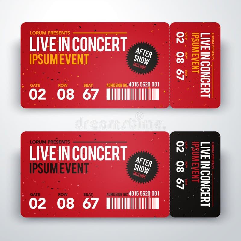 传染媒介例证音乐会票党或节日的设计模板 库存例证