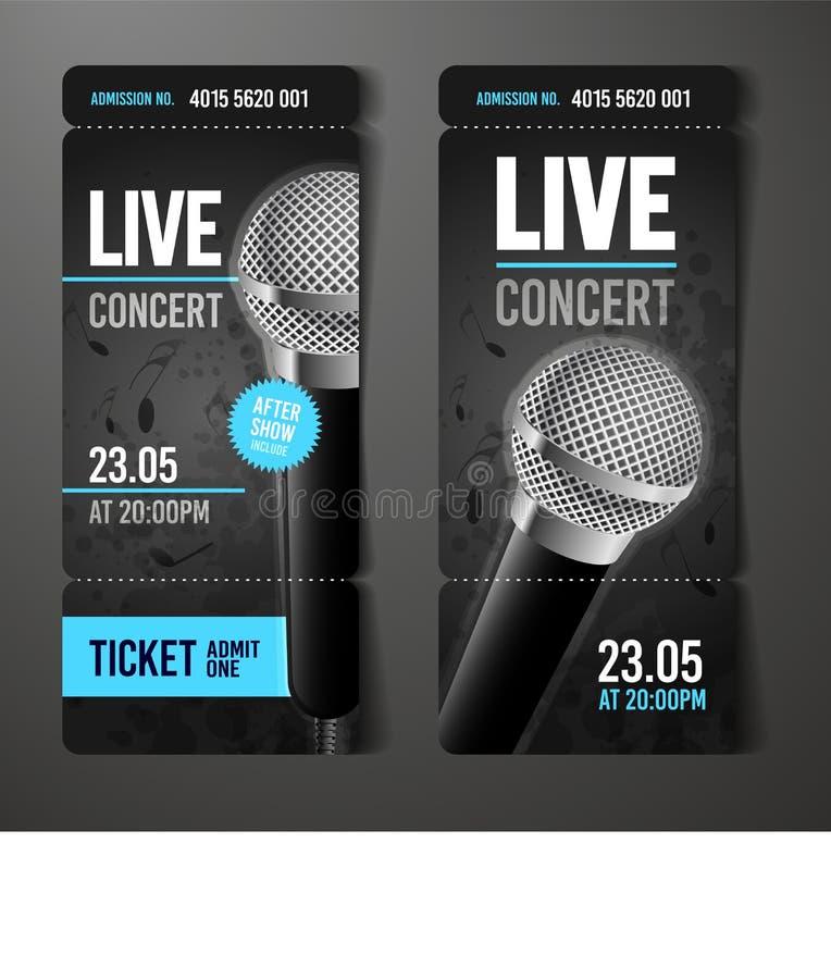 传染媒介例证音乐音乐会事件票与凉快的话筒和葡萄酒作用的设计模板 向量例证