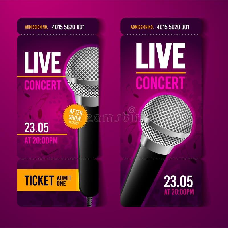 传染媒介例证音乐音乐会事件票与凉快的话筒和葡萄酒作用的设计模板 库存例证