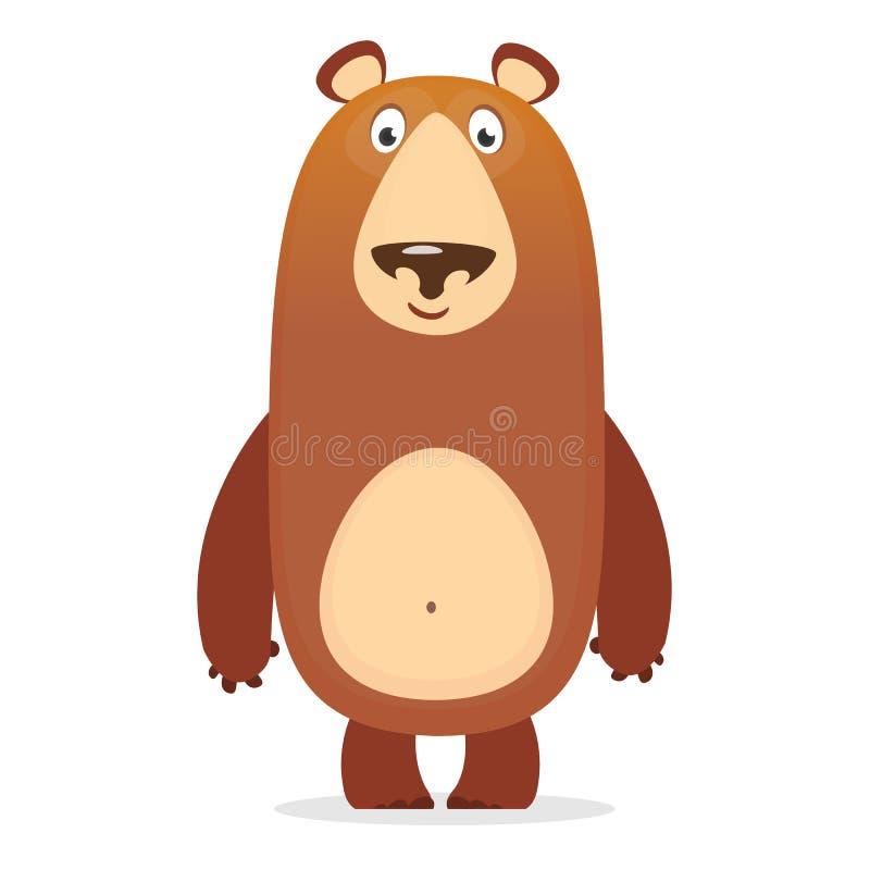 传染媒介例证,一头大狂放的动画片熊微笑着 库存例证