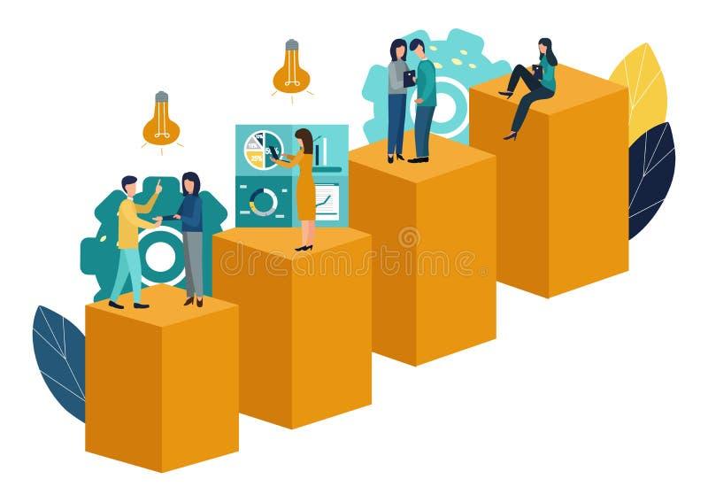 传染媒介例证,真正企业助理 配合,激发灵感,新的想法,达到目标,新的胜利 库存例证