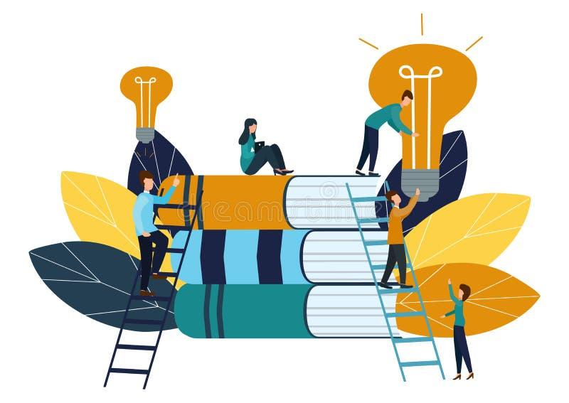 传染媒介例证,配合,雇员捉住了想法,搜寻新的创造性的想法 向量例证