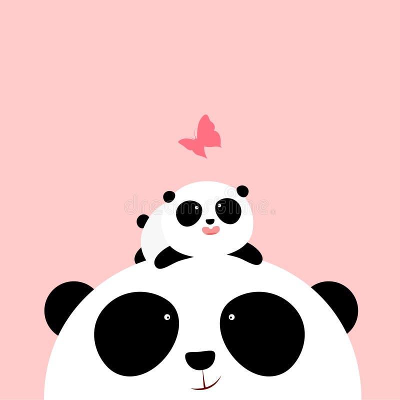 传染媒介例证:一只逗人喜爱的动画片小熊猫在他的父亲/母亲头说谎,看蝴蝶 库存例证