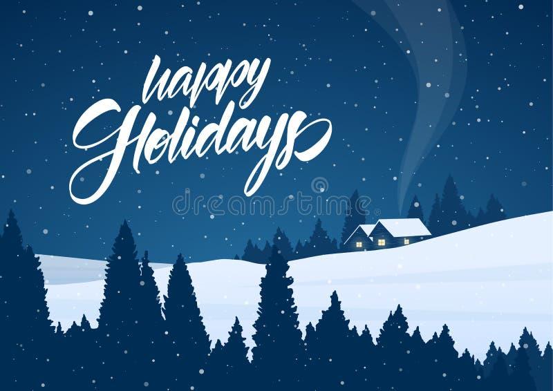 传染媒介例证:与动画片房子和节日快乐手写的字法的冬天多雪的圣诞节风景  向量例证