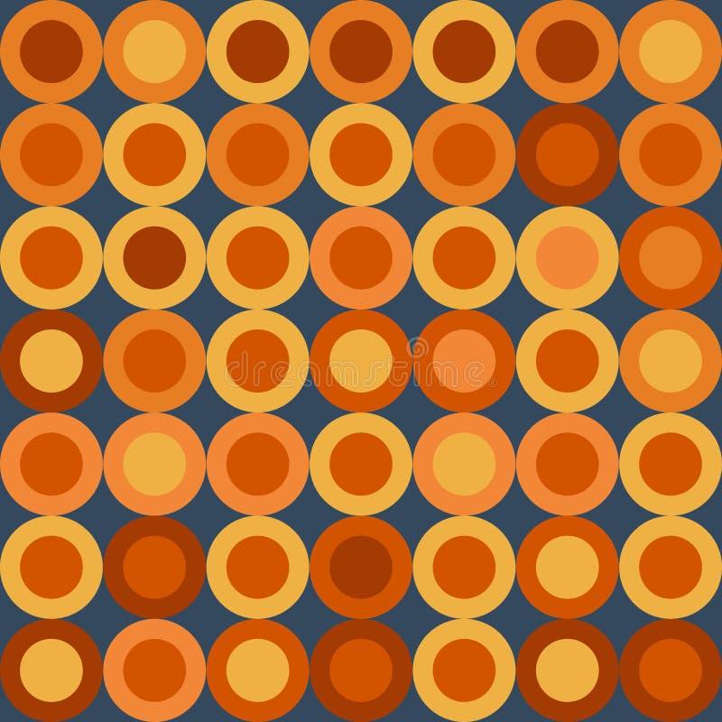 传染媒介例证:与大黄色和橙色轮子的无缝的减速火箭的样式在深蓝背景 库存例证