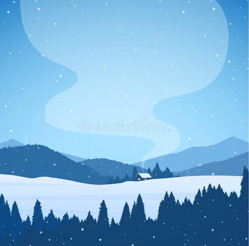 传染媒介例证:冬天动画片多雪的山环境美化与森林、房子和烟从烟囱 皇族释放例证