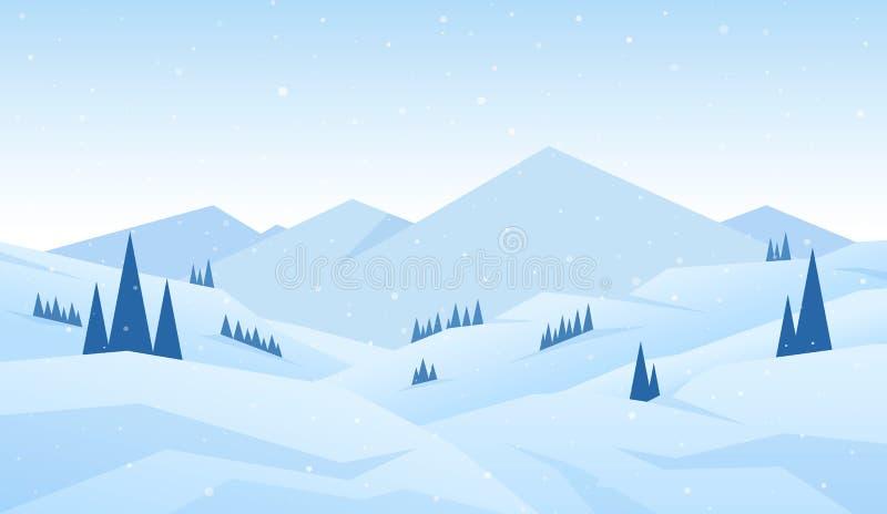 传染媒介例证:冬天多雪的动画片山环境美化与小山、杉木和峰顶 皇族释放例证
