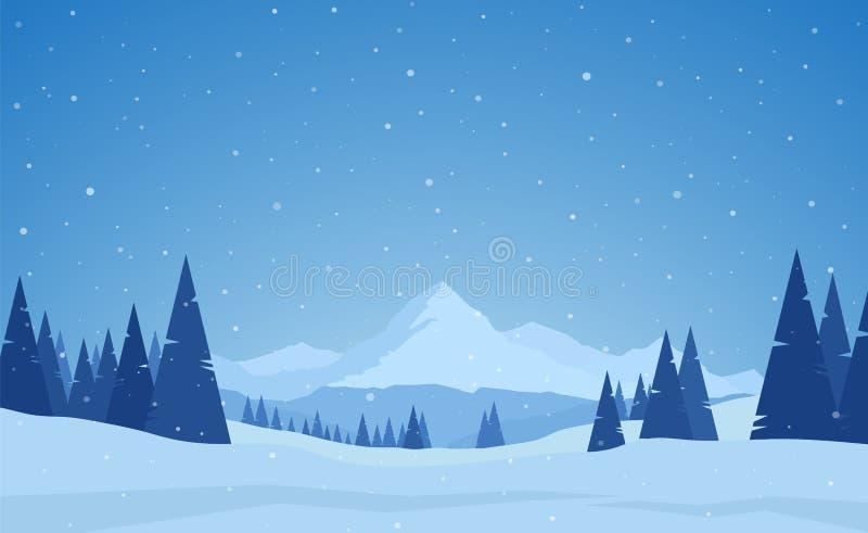 传染媒介例证:冬天多雪的镇静山环境美化与杉木、小山和雪花 向量例证