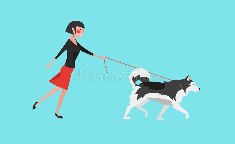 传染媒介例证:少妇步行狗灰色爱斯基摩狗 皇族释放例证
