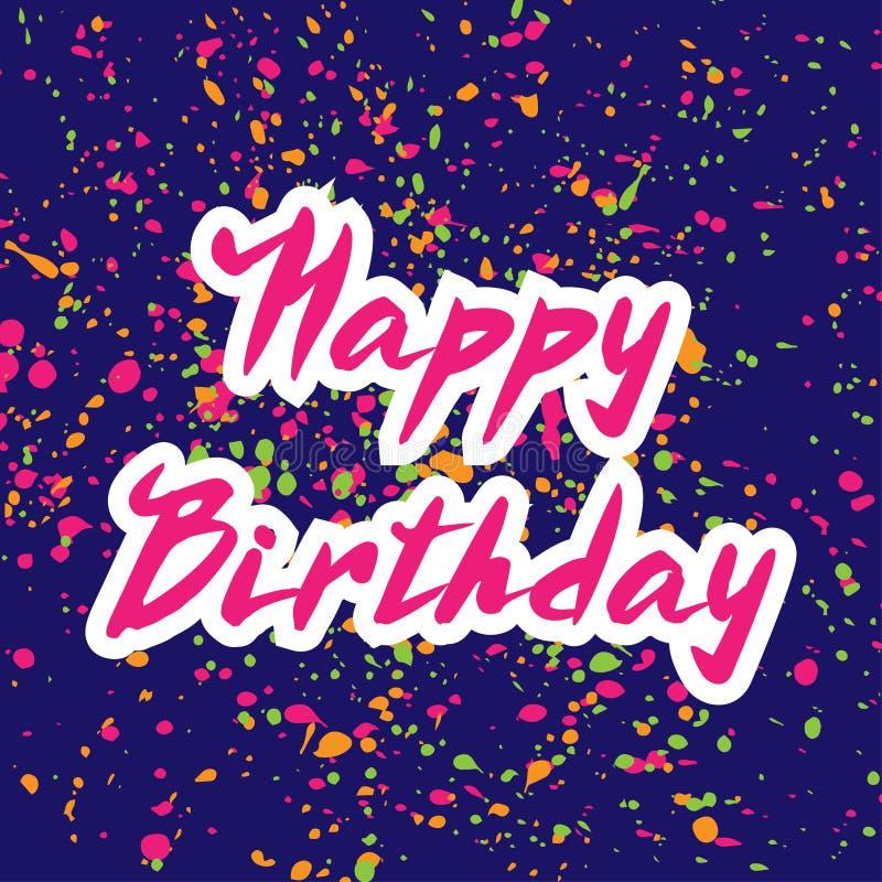 传染媒介例证:手写现代刷子在上写字在蓝色的生日快乐有五彩纸屑背景 库存例证