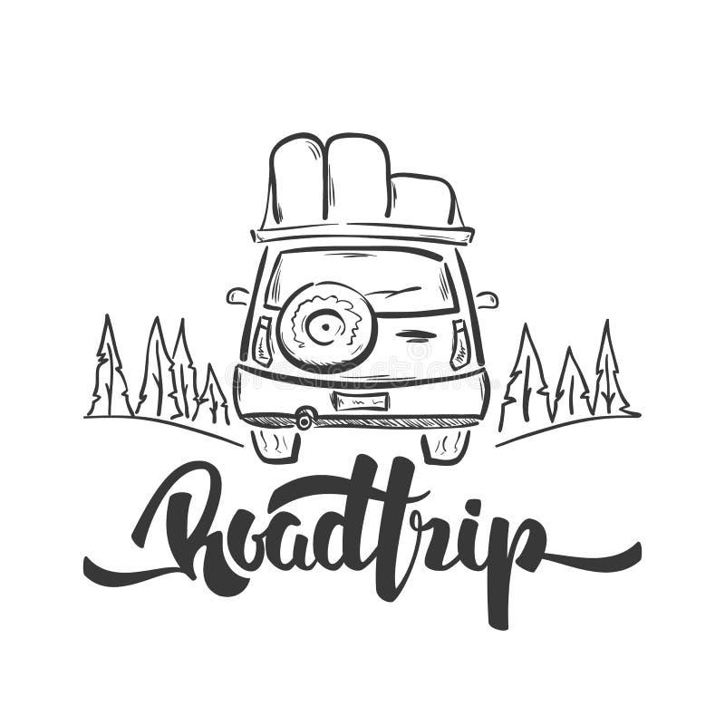 传染媒介例证:手拉的旅行汽车和旅行手写的字法  剪影线设计 向量例证