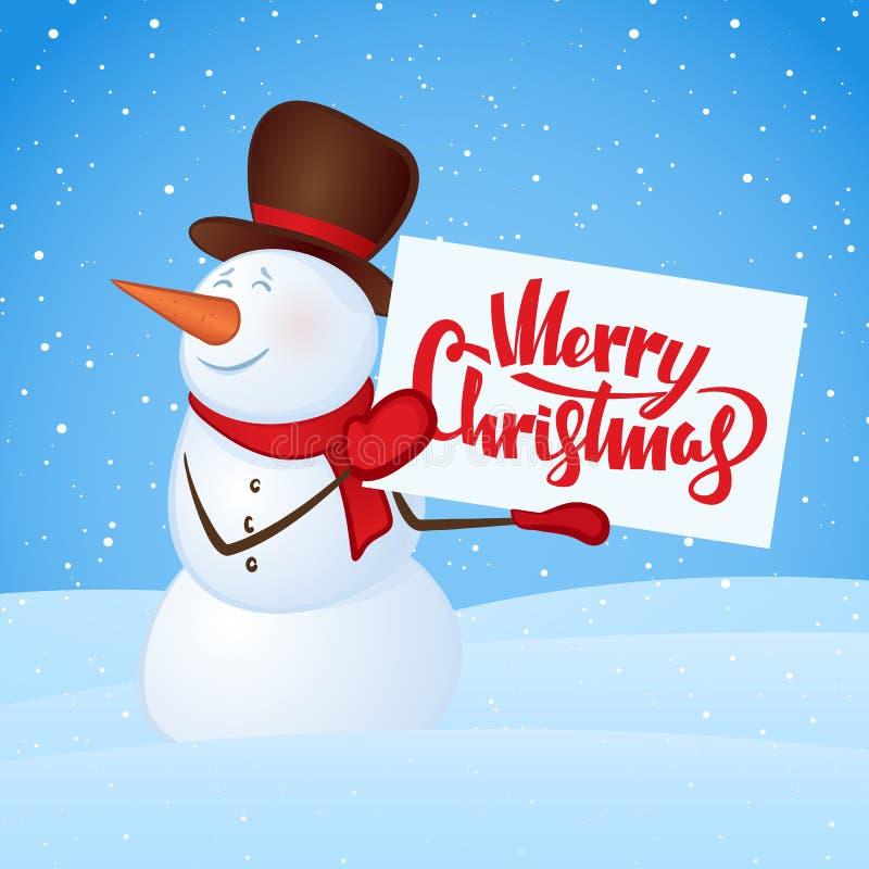 传染媒介例证:有空白的横幅的冬天微笑的雪人在随风飘飞的雪背景的手上 快活的圣诞节 皇族释放例证