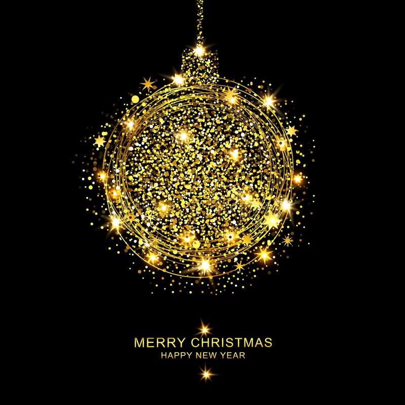 传染媒介例证:闪闪发光和星金黄圣诞节球  向量例证