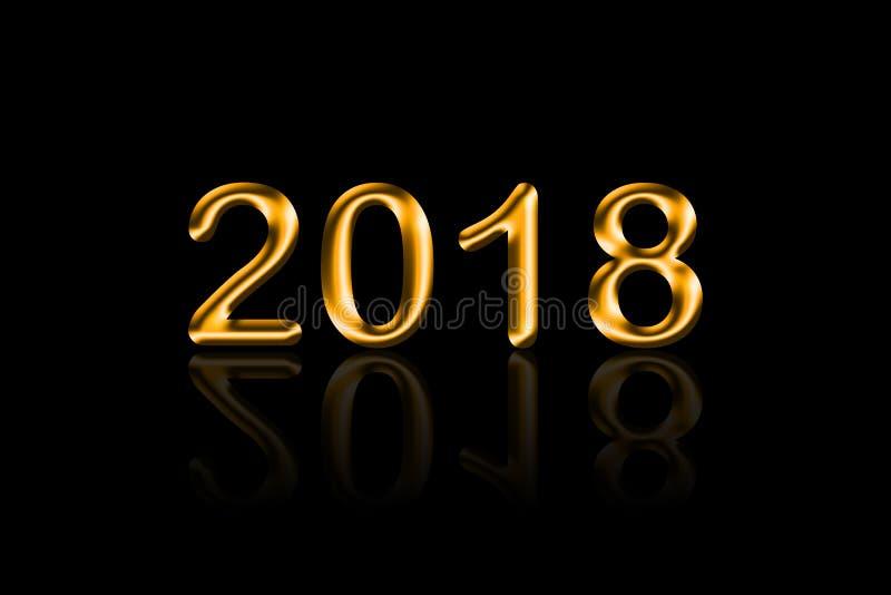 传染媒介例证2018年在黑背景的金叶与Refl 免版税库存照片