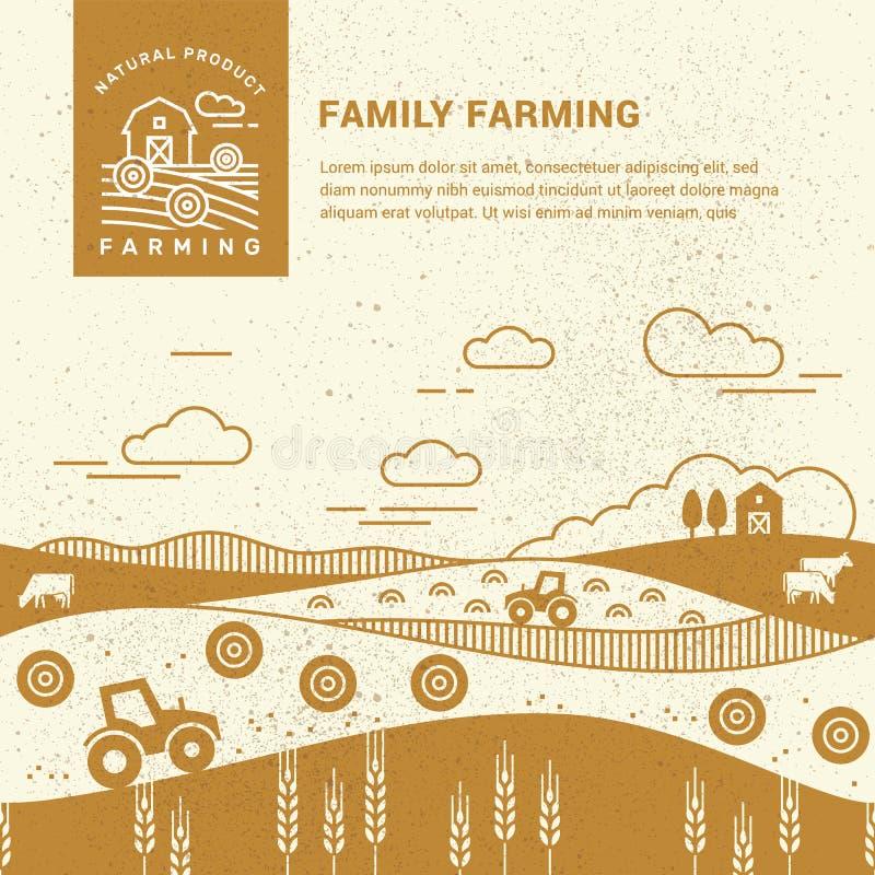 传染媒介例证-有一个地方的水平的无缝的样式家庭农场文本和商标的 库存例证
