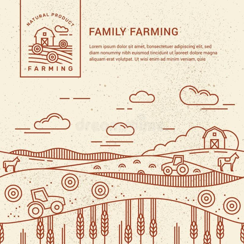 传染媒介例证-有一个地方的水平的无缝的样式家庭农场文本和商标的 皇族释放例证