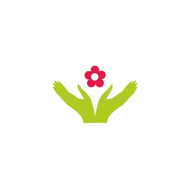 传染媒介例证-花和手剪影  商标的空白 库存图片
