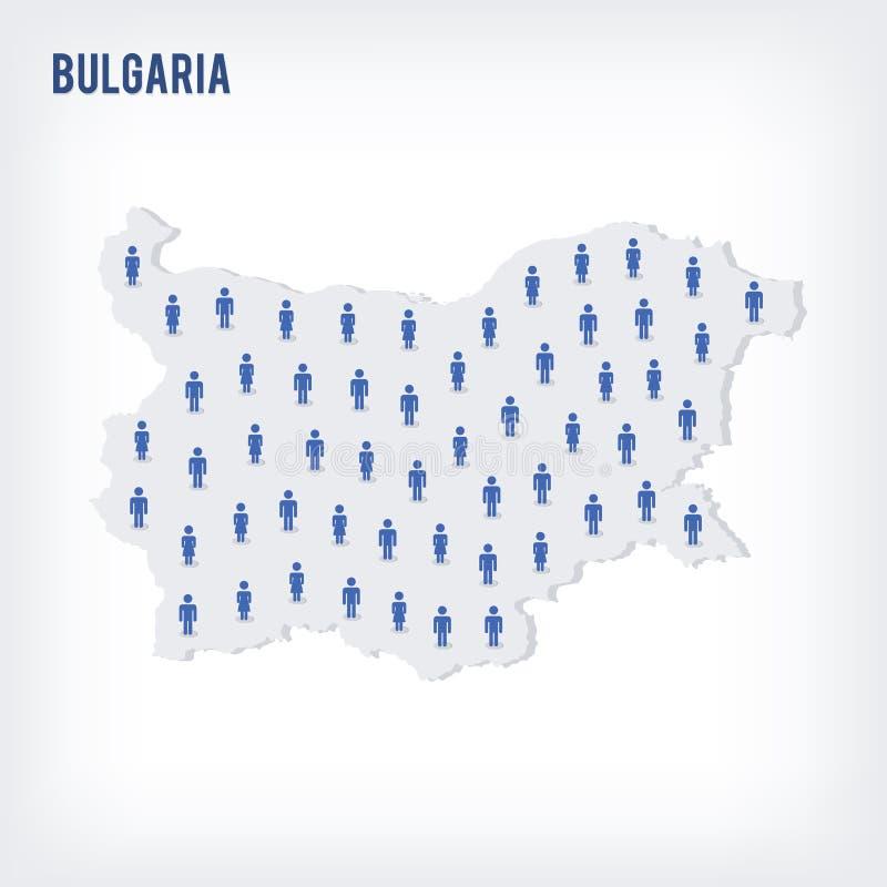 传染媒介保加利亚的人地图 人口的概念 库存例证
