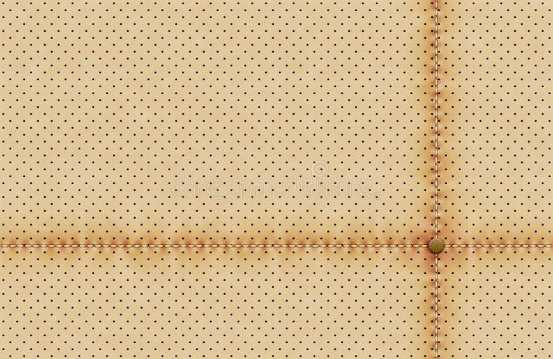 传染媒介光穿孔的皮革纹理墙纸 与缝合的线和铆钉的现实穿孔的背景 被加点的灰棕色 库存例证